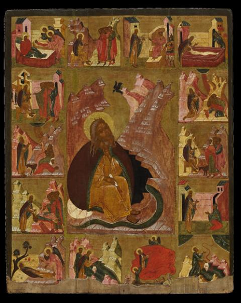 Пророк Илья в пустыне, с житием в 14 клеймах