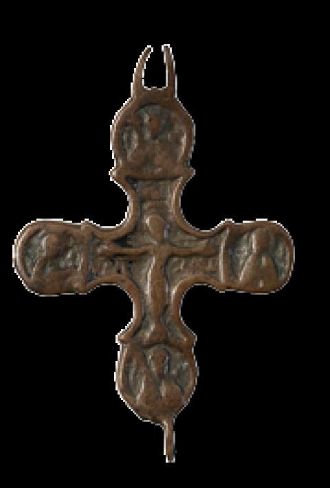 Распятие, с предстоящими и архангелами (cтворка креста-энколпиона)