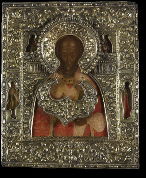 Святитель Николай, архиепископ Мирликийский, со св. Иоанном Предтечей и священномучеником Антипой Пергамским