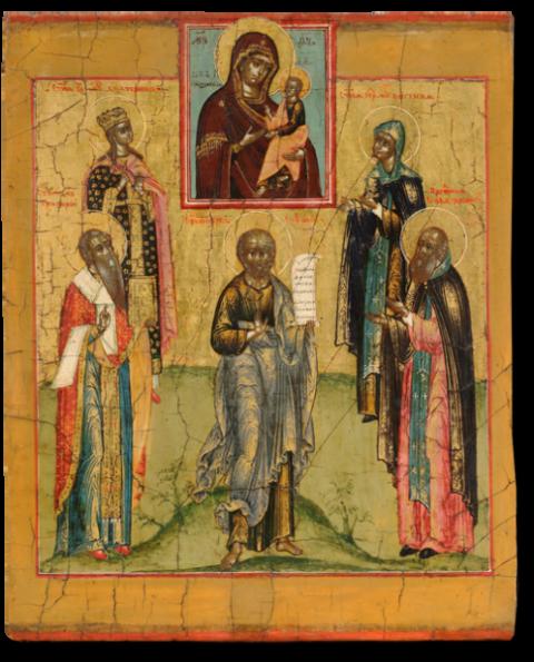 Пророк Софония, преподобный Савва Звенигородский, священномученик Григорий, мученица Екатерина и преподобная Евгения в молении перед образом Богоматери Грузинской